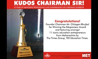 MET Chairman wins Edupreneur 2013